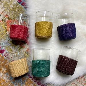 Set of 6 Vintage Clear Glasses with Wicker Covers
